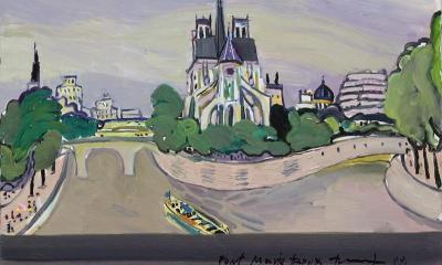 """Пейзаж от Париж"" Вихрони Попнеделев <p>маслени бои на платно</p> <p>подписана долу в дясно</p> <p>датирана 200</p> <p>размер 50 х 70 см</p>"